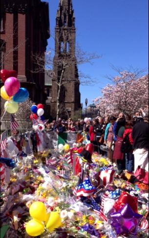 The memorial on Boylston Street.