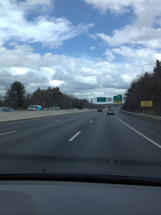 "The Massachusetts turnpike (the ""Mass Pike"") near where the Marathon started on Monday morning."