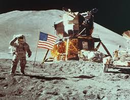 Apollo moon landing, 1969.  Courtesy, NASA
