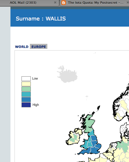 Surname (UK) Wallis