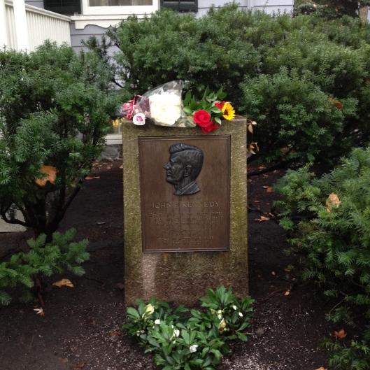 Memorial to JFK at his boyhood home on Beal Street