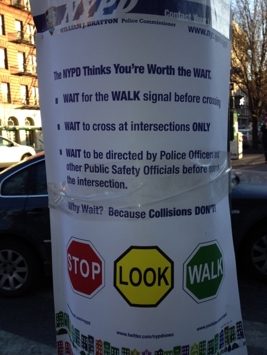 Mayor di Blasio doesn't want you to be hit by a car.