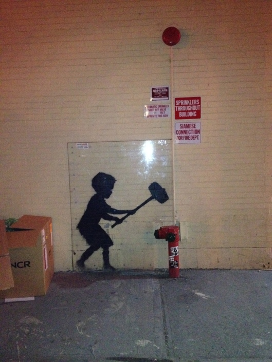 "Banksy's little fellow and a ""test of strength."""