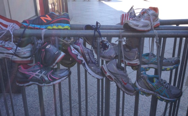 Running shoes on the barricade.  Copyright Virginia A Smith