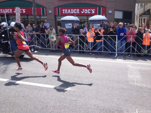 The women's frontrunners at mile 24, going so fast I could barely photograph them!