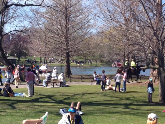 Public Garden:  horses to the right;  swan boat to the left.
