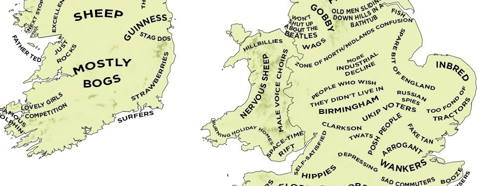 Map Of Ireland Midlands.The Uk The Definitive Stereotype Map Of Britain And Ireland The
