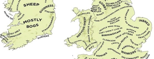 Courtesy, Tom Phillips, Buzzfeed: The Definitive  Stereotype Map of Britain and Ireland