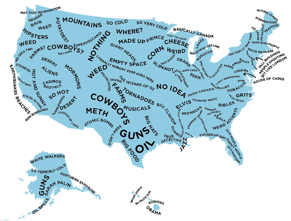 The US The definitive stereotype map of every US state
