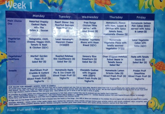 menu in a Cambridge public school