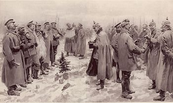 German and British soldiers during the Christmas Truce of 1914
