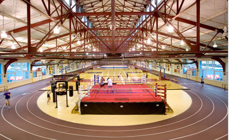 The track and field arena at Chelsea Piers