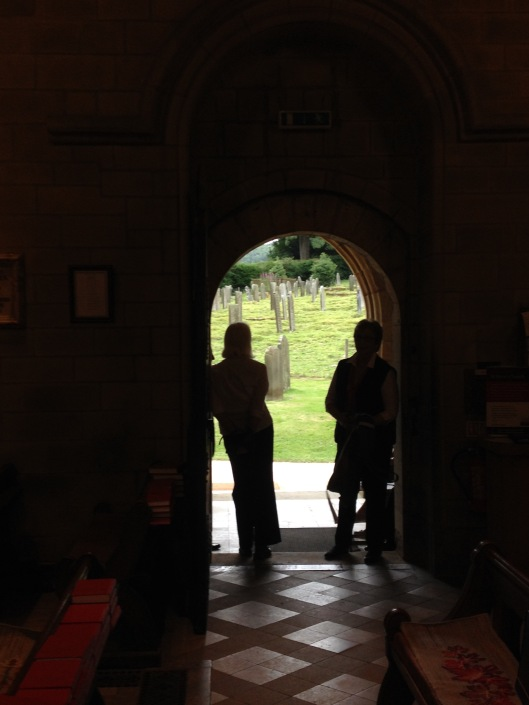 View through a church door.